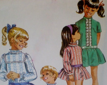 Vintage 1969 SIMPLICITY Pattern  #8671  GIRLS Drop Waist Dress with Stand Up Collar  Size 8
