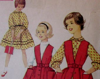 Vintage 1960s  Simplicity Girls Full Gathered Skirt Dress or JumperPattern #3138   Size 14