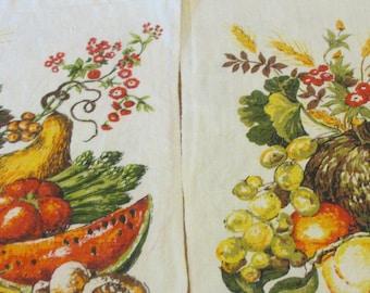 Vintage Linen Kitchen Tea Towel Calendar  Fall Theme Cornucopia Vegetable Fruit Theme Set of 2 Years 1975 & 1976   gourds and grains