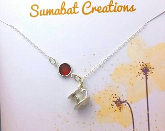 Tea charm necklace, Birthstone necklace,Sterling silver necklace,Gift for tea lover,September birthstone,Gift for mom,Birthstone jewelry