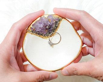 ring holder OOAK Ring Dish Jewelry dish handmade Crystal gift for her Quartz resin trinket dish