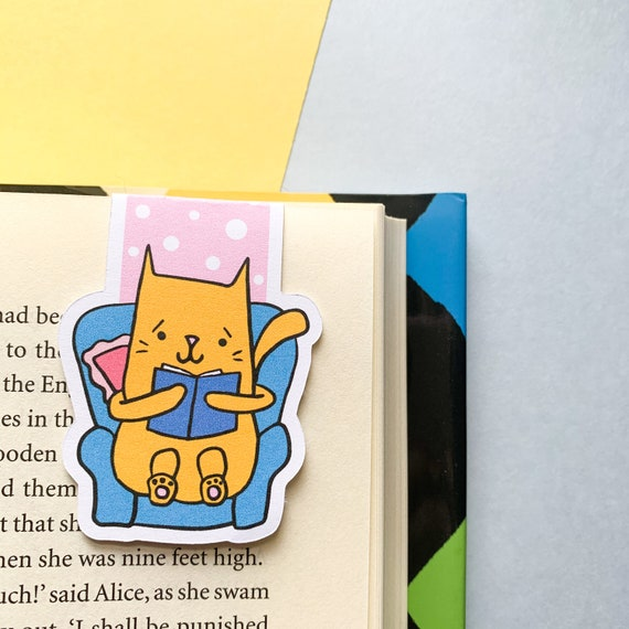 Cute Reading Cat Magnetic Bookmark Page Keeper Gift Ideas Etsy