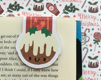 Cute Christmas Pudding Magnetic Bookmark - Christmas Book Accessory - Gift Idea for readers - Festive - Holidays - Seasons