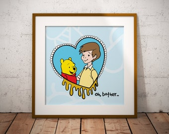 Christopher Robin and Pooh Instant Print | Downloadable Art | Wall Decor | Wall Art | Printable