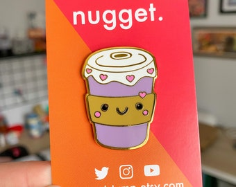 Cute Coffee Cup Pin - 1.5 Inches - Hard Enamel Lapel Pin - Kawaii Hot Drink Hot Chocolate Pin - Small Gift Idea for Her/Him