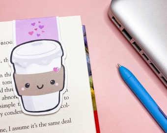 Coffee Cup Magnetic Bookmark - Book Accessory - Page Keeper - Beverage - Cute Kawaii Bookmark