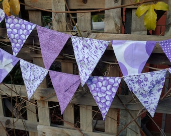 Bright purples - Handmade bunting, flags or banner for child's bedroom, baby shower, nursery