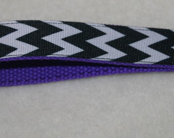 Wristlet key fob, key ring - black and white chevron ribbon on purple webbing