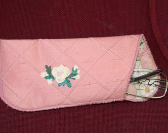 Eyeglasses case - dupion pink silk with a hand embroidered silk ribbon rose on the front and cross hatching quilting - glasses case