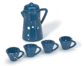 Coffee Pot with Cups in Blue with White Speckles, Add to a farmhouse kitchen, vintage model train scene, outdoor fairy camping ground