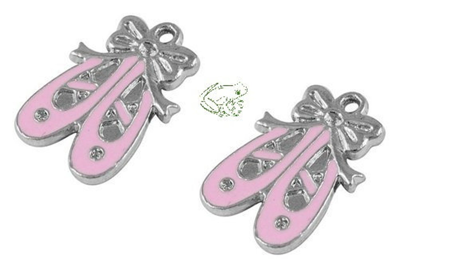 charm, enamel ballet slippers, 21x14 mm double-sided, set of 2, ballet charm, ballet slipper charm, pink ballet slipper, toe sho