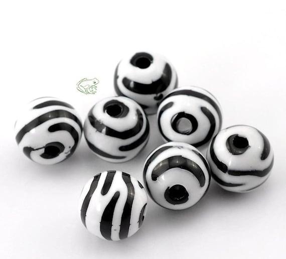 Wholesale 20-100pcs 6MM 8MM 10MM 12MM Zebra-Stripe Acrylic Round Spacer Beads