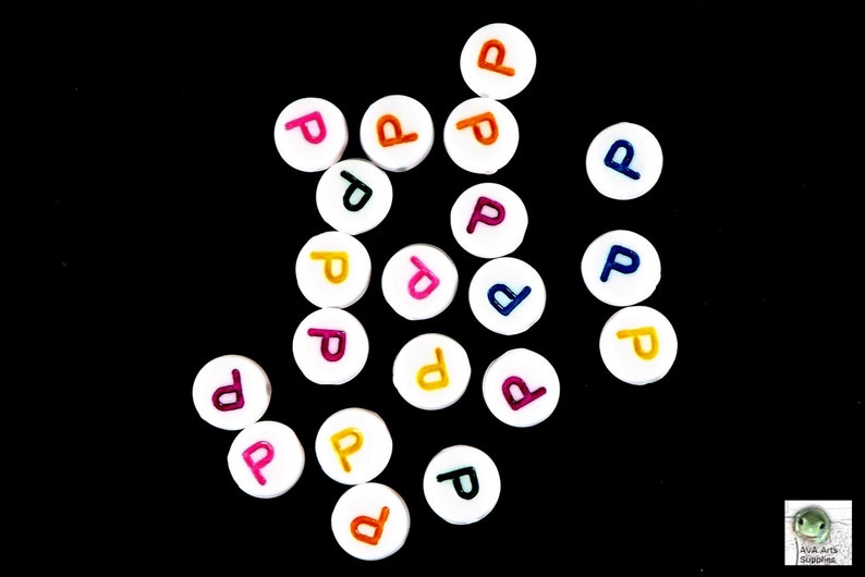 Kawaii Alphabet Beads Pink Letter bead: P beads ABC Beads Purple Green Yellow 7mm Colorful Letter Beads Set of 20 Blue