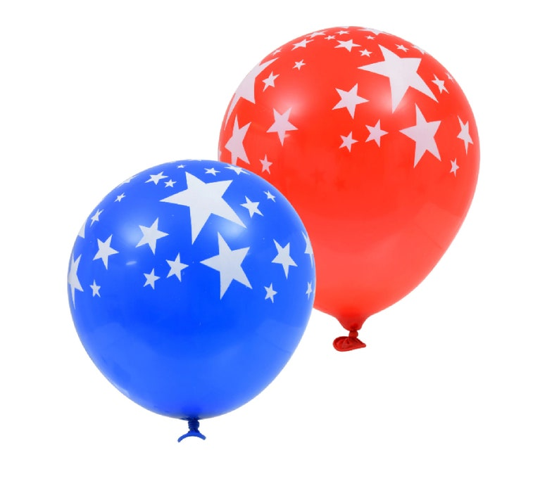 Patriotic Red and Blue Balloons with White Stars 12 inch and Celebrations Set of 12 Great for BBQs Picnics