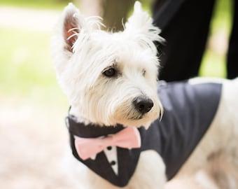 Dog Wedding Tuxedo, Charcoal Grey tuxedo. dog wedding attire , dog bow tie , dog bandanna, dog leash, dog formal wear, dog harness