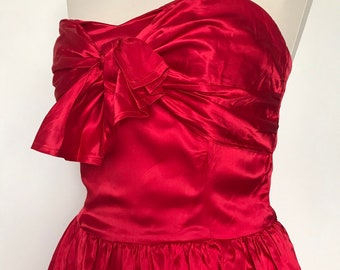 98d58365f8d6 Vintage dress, bustier dress, boned, strapless, satin dress,red dress,party,bow,50s  style,flared skirt,prom,red satin,UK 8,sweetheart,