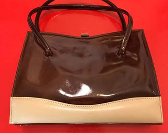 2f60ac089c9d Top handle handbag two tone brown beige vinyl kelly style bag gold clasp  purse 1970s Mod fully lined
