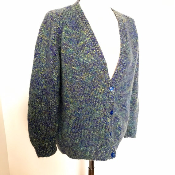 Vintage hand knit, handmade cardigan, knitted sweater, blue, green,knitting,UK 14,M,1940s style,classic knitwear,chunky knit,winter cardigan