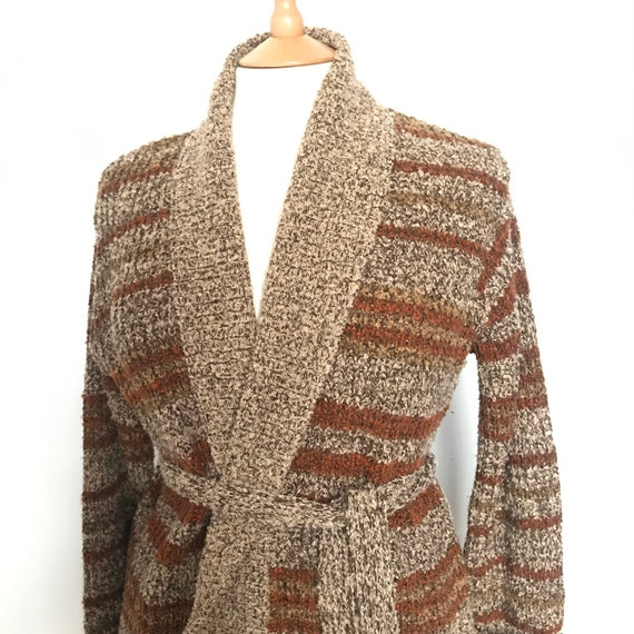 Vintage knit,long cardigan,wrap cardigan,brown,striped,vegan wool,knitted cardigan,cardi, Mod top,1970s,20s,scooter girl,M,UK 12 14