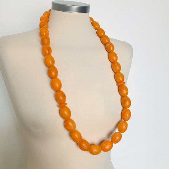 Vintage necklace,amber look beads,beaded necklace,chunky beads,Orange beads,boho,1960s,beads,hippie,60s