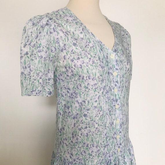 Vintage cotton dress Laura Ashley cotton tea dress blue floral chintz UK 8 flowery full flared skirt V neck 30s style sundress summer