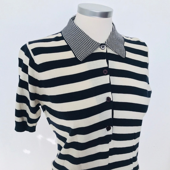 Vintage sweater,striped top,polo top,1940s style,nautical stripe,cotton knit,navy and cream,small,80s does 20s,30s look