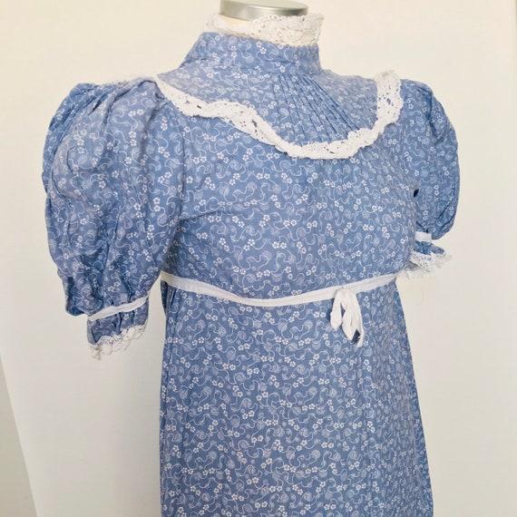 Vintage dress, Laura Ashley, 1970s, chintz, rose bud print, blue, cotton, long, prairie, 70s, petite, size 6, Original 70s, Regency, LARP