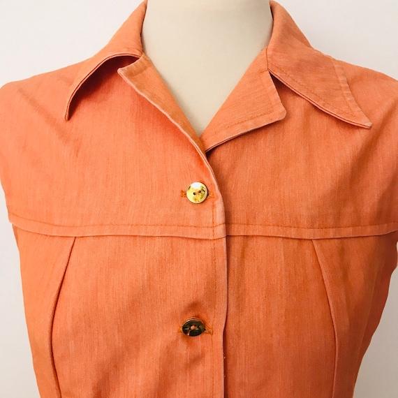 1970s dress, Mod dress, orange dress, 70s denim, shirt dress, sleeveless, A line, UK 14, orange denim, scooter girl 1960s, gold buttons