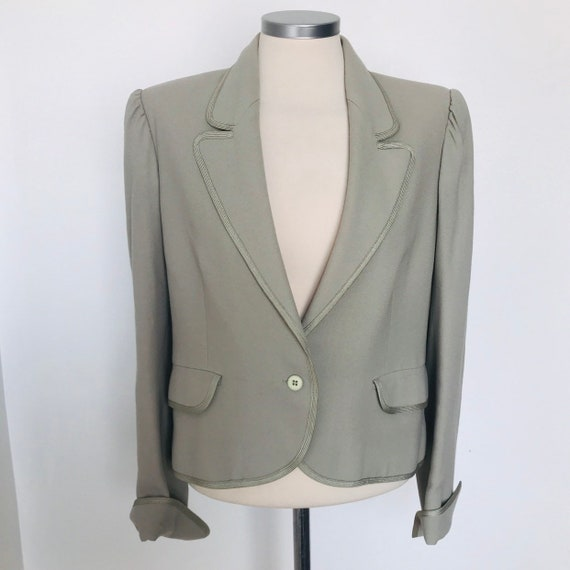 Vintage suit jacket, 70s blazer, sage grey,vintage crepe,cropped jacket,70s does 40s,waist length,puffed sleeves,UK 10 12