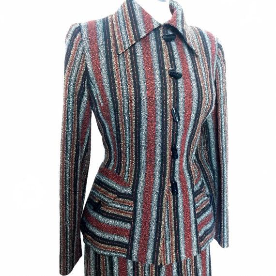 vintage suit,70s does 40s,1940s suit,striped,tweed,wool mix,winter suit,1970s suit,UK 10,skirt,jacket,40s suit