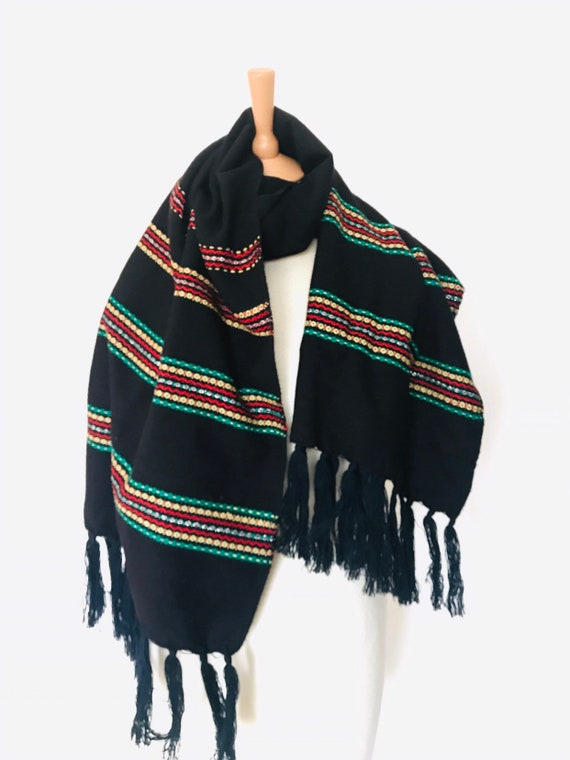 Vintage scarf, mexican, wool, wrap, striped scarf, Mexico, Frida Kahlo, black, green,red,yellow, shawl fringed long wrap,boho,fringed,winter