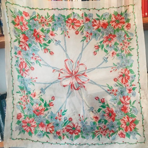 1930s scarf scarf floral bouquet 30s 1940s parachute silk screen print flowers accessory headscarf bow, ribbon, 40s