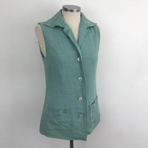 Vintage vest, mod waistcoat, linen waist coat, seafoam, blue linen, longline, 70s, vintage Jaeger, 1970s does 1940s, UK 10 US 6 60s