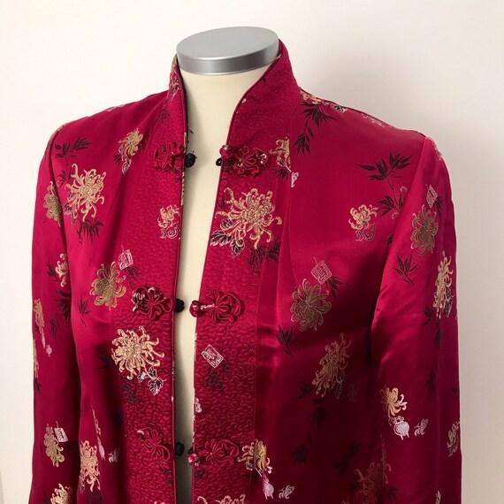 Vintage chinese silk jacket, reversible, red , black, chrysanthemum, long sleeve, oriental classic, UK 10, petite, evening, 60s, 1960s