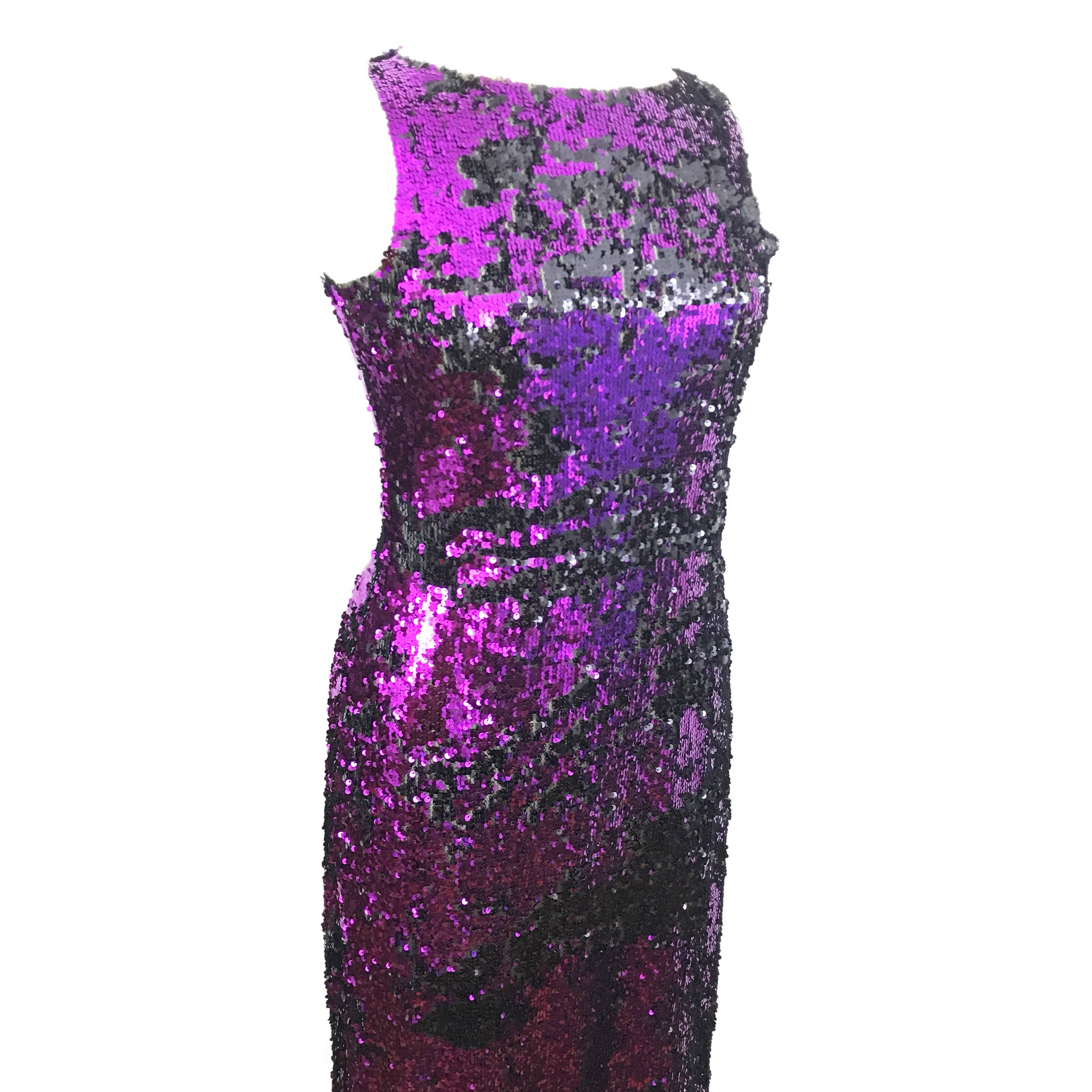 45105cae vintage sequin dress purple black evening gown bombshell style ...