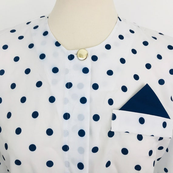 Vintage blouse, spotted shirt, polka dot shirt, white blouse, spotty top, collarless shirt, mom fit 1980s UK 8 10, nu wave, Mod, secretary,