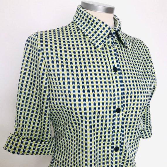1970s blouse,mod shirt,op art,lime green,geometric print, UK 8,10, groovy, hippie Northern Soul,scooter girl,70s dagger collar, jersey,cuffs