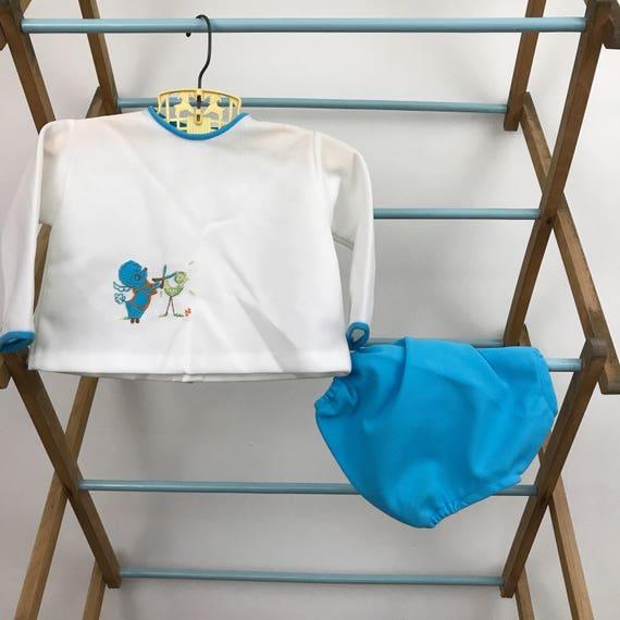 Vintage baby outfit 70s baby 6 months cute poodle shirt shorts blue retro babies vintage kids crimplene mod 1970s