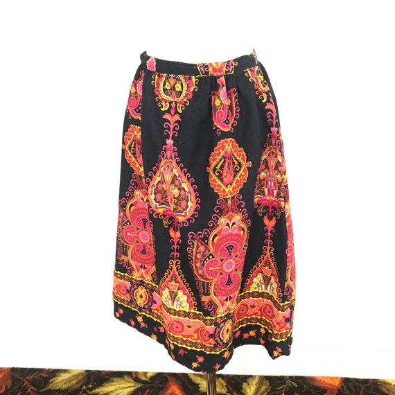 Vintage skirt, 1970s skirt, psychedelic, border print, paisley, knee length, high waisted handmade boho hippie, UK 10, 12, orange, pink