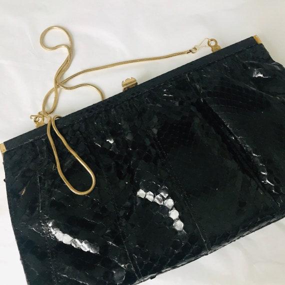 Vintage snakeskin, large clutch, snake purse,shoulder bag,gold chaim,black leather 70s 80s evening bag boho reptile animal skin bag