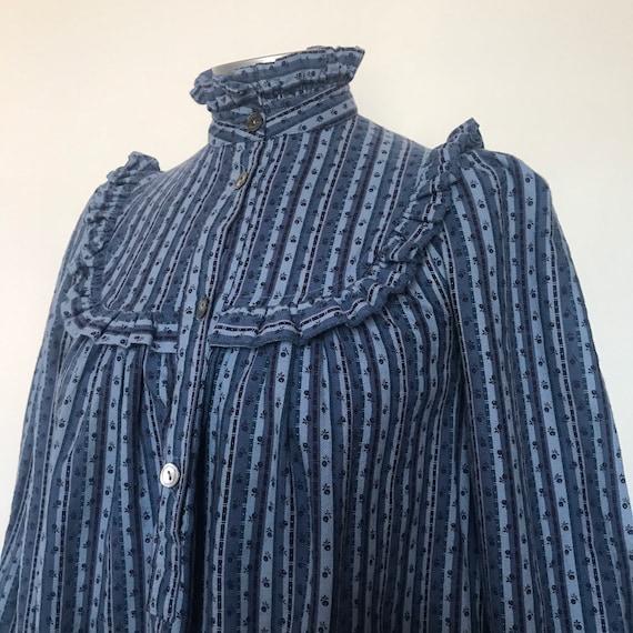 Vintage dress,vintage Laura Ashley, brushed cotton,blue dress,chintz, prairie dress,smock,trapeze,size 8, boho, hippie,70s dress,striped,80s