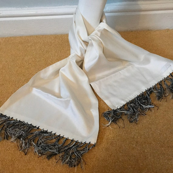 1940s evening scarf, white scarf, gents scarf,white cravat,neck tie,evening scarf,40s,cravat,silky fringed,tuxedo scarf,synthetic silk