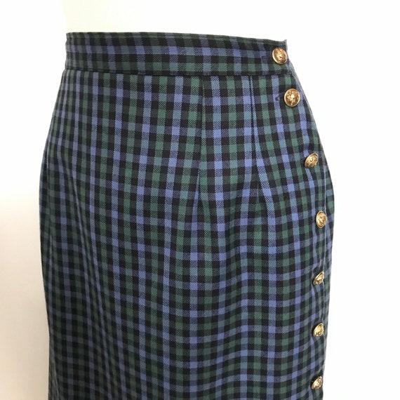 Plaid skirt,blue,green,tartan,pencil skirt,side fastening,classic vintage,straight cut,pin up,UK 14,high waist,Mod,Bad Girl,60s,50s,40s