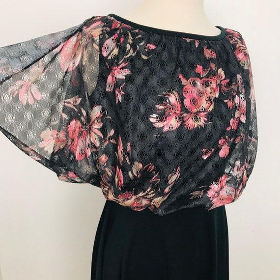 1970s dress, floral lace, midi dress, butterfly sleeves, A line, knee length, 70s, vintage wedding, cape sleeves, boho, black, UK 10 US 6