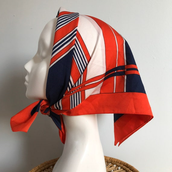 Vintage scarf,striped, geometric,80s, GoGo, 1970s, Mod,Red, white, navy, head scarf, Annie hall, stripes, 80s