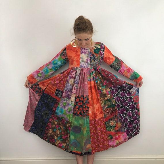 vintage patchwork, Lauren Shanley dress, cotton dress, vintage cotton, novelty print cotton, boho, hippie, smock dress, UK 12 14