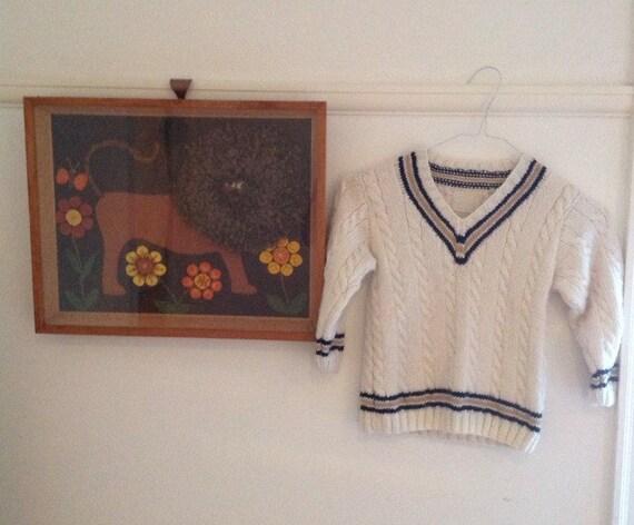 Vintage boys cricket sweater handknit jumper sportswear traditional 40s 50s age 6 approx