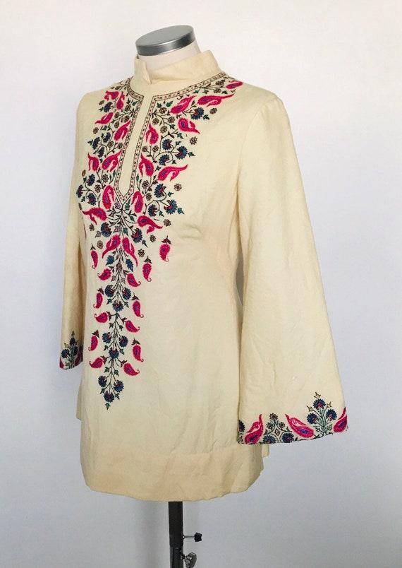 Vintage mini dress,1970s wool tunic, embroidered dress,Afghan embroidery,minidress,60s, 1960s dress, festival bohemian hippie glastonbury,
