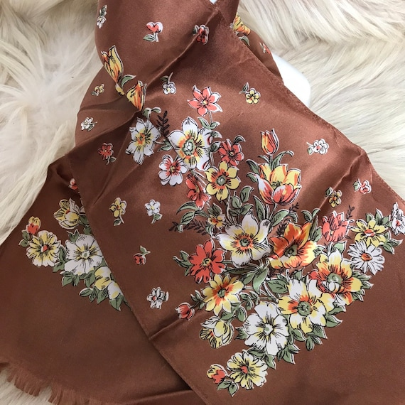Vintage scarf,long scarf,satin,floral print,silky,1930s,1950s,brown,oblong, fringed,neckerchief, head scarf