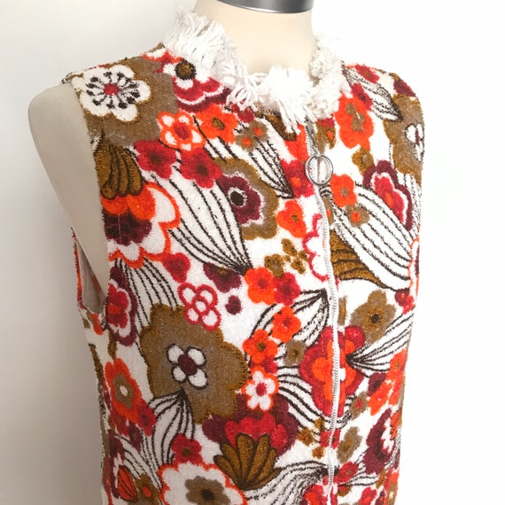 1960s top,vintage Towelling,towel tunic,fringed,cotton Towel,beach cover up vacation,zip front,flower power,VLV seaside,GoGo Mod UK 10